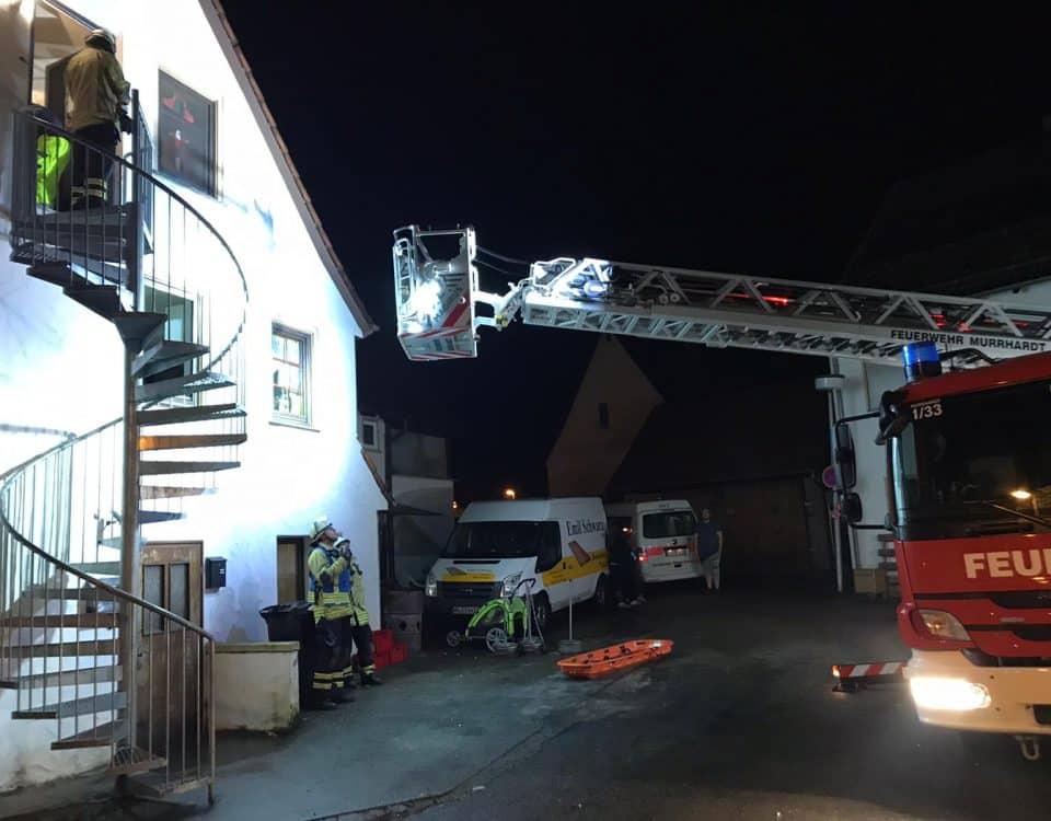Personenrettung mit Drehleiter Feuerwehr Spiegelberg